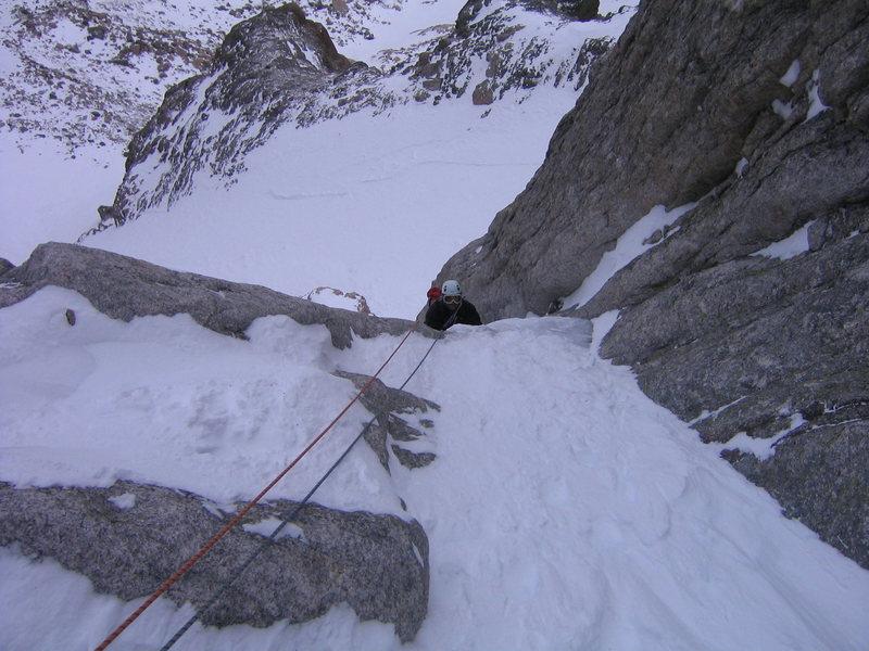 Rock Climbing Photo: Rick following the 1st pitch.