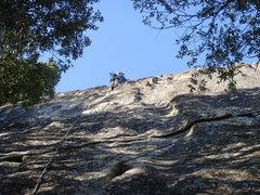 Rock Climbing Photo: Day 1 - Sandra amidst the knobs of Sloth Wall (5.7...