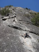 Rock Climbing Photo: Day 2 - Sandra on the crux of After Seven (5.8), t...