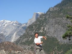 Rock Climbing Photo: Day 2 - Me (with Half Dome), hamming it up on top ...