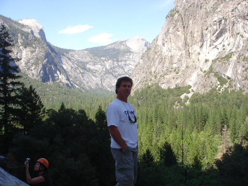 Day 3 - Me chillin' at the base of the Apron, Little Yosemite Valley behind.<br> <br> Photo by Joe V.