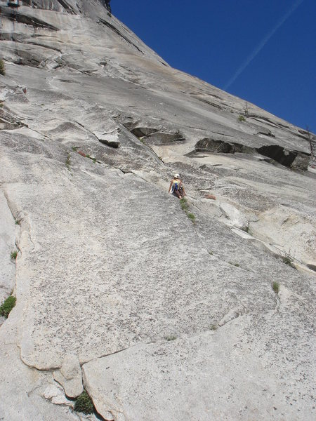 Day 4 - Sandra leading P1 of the Grack - Center (5.6), Glacier Point Apron.