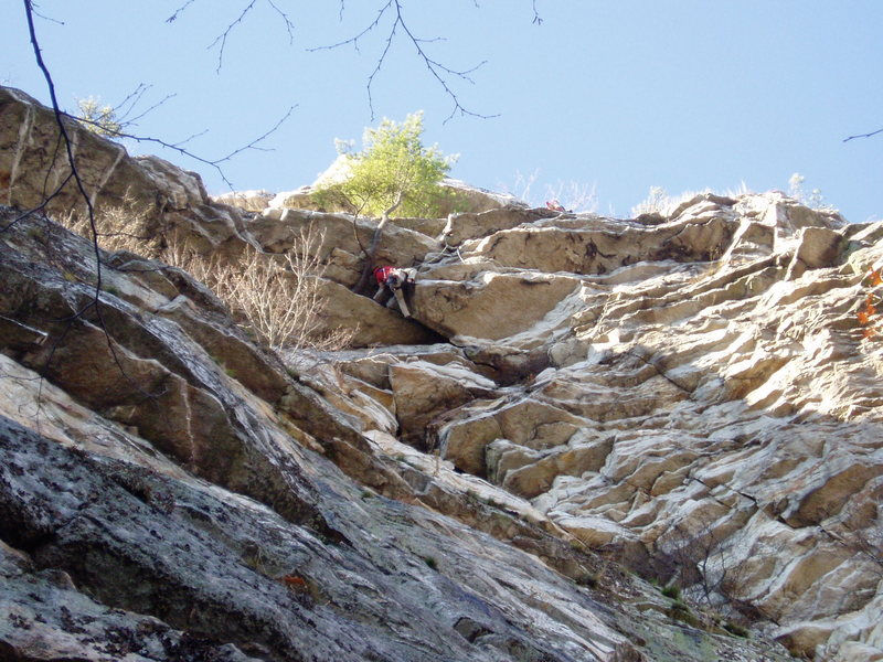 "Rock Climbing Photo: Someone heading ""out"" the 2nd pitch (tak..."