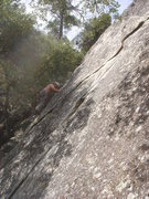 Rock Climbing Photo: Day 5 - On the crux of Just for Starters (5.10a), ...