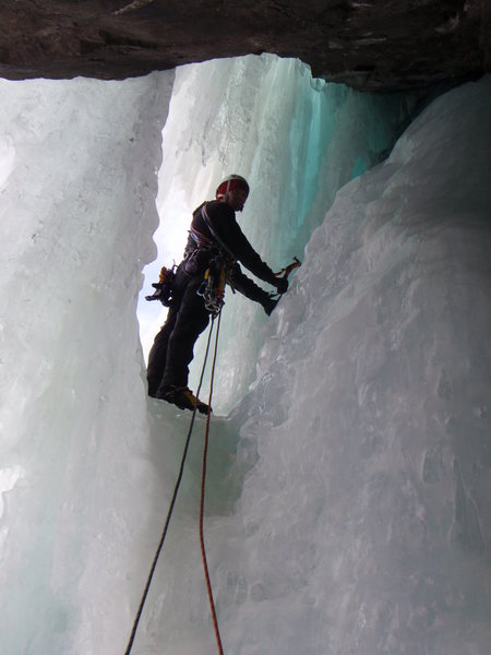 Leaving the belay on the last pitch of Bidalveil Falls.<br> Photo: Rick Witting
