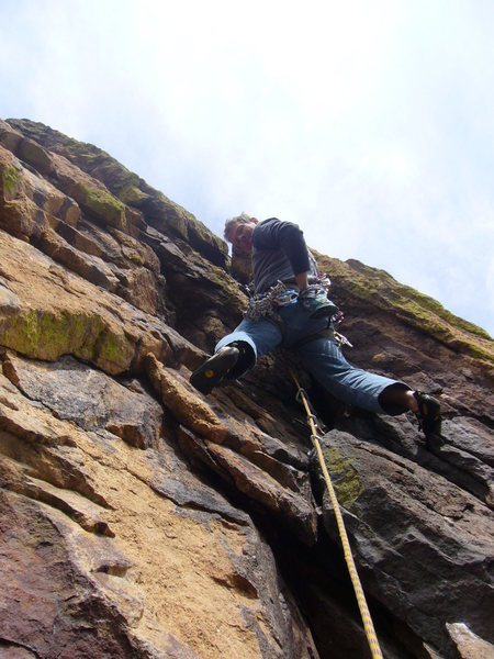The roof on the last pitch. Be careful of loose rock!