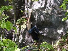 Rock Climbing Photo: Dobbe slapping for the ledge.
