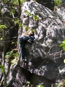 Rock Climbing Photo: Dobbe pressing out the ledge.