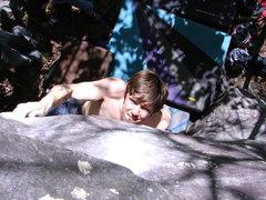 Rock Climbing Photo: Dobbe staying focused. Photo: Skinner