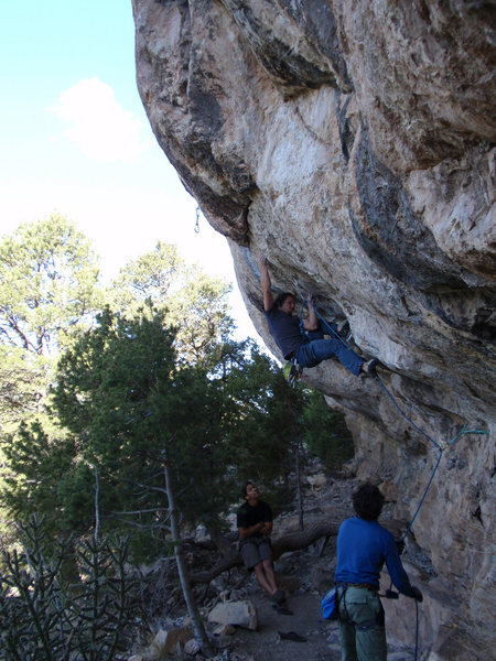 Rock Climbing Photo: Matt L. trying the move off of the flared finger l...
