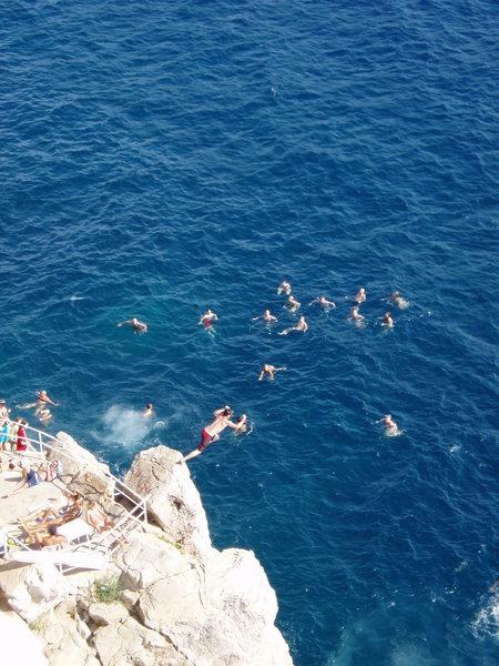 Sweet cliff jump in Dubrovnik