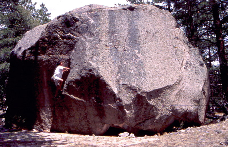 BH on FA of Bob's Ramp circa 1999, Kiley's Boulder, Agnes Falls, Mt. Princeton Area.
