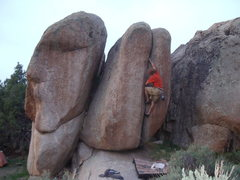 Rock Climbing Photo: The problem goes up the arete left of the Quarter ...