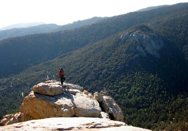 Rock Climbing Photo: Jonny making his way to the summit of Tahquitz. Su...