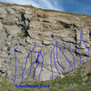 Schoolhouse Rock, Riverside Quarry<br> <br> A. Schoolhouse Rock (5.8)<br> B. The Check's in the Mail (5.7)<br> C. The Energy Blues (5.6)<br> D. Taxman Max (5.5)<br> E. Dollars and Sense (5.7)<br> F. Tyrannosaurus Debt (5.9)<br> G. I'm Just a Bill (5.6)<br> H. My Hero Zero (5.0)<br> I. Conjunction Junction (5.9)<br> J. Function Junction (5.9)<br> K. What's Your Function (5.10b)<br> L. Interplanet Janet (5.6)<br> M. House of Cards (5.10c)<br> N. Victim of Gravity (5.9)<br>
