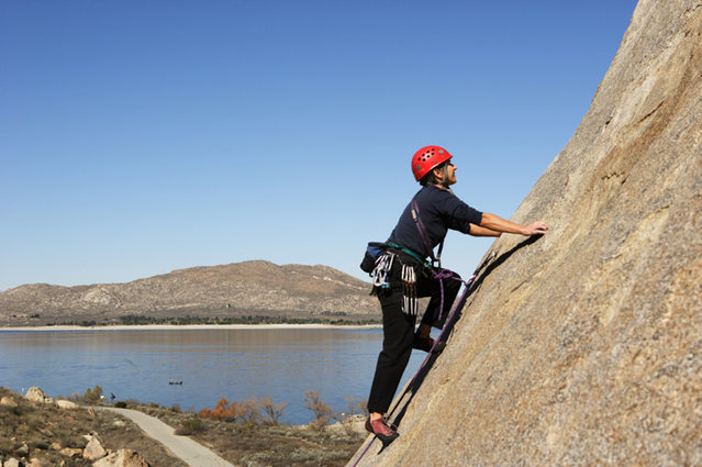 Lisa Pritchett climbing at Big Rock, California.