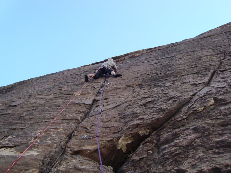 Pitch 6 where the climb takes on a sportish nature