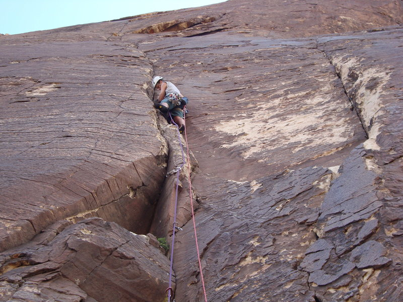 Very ascetic climbing throughout the length of the climb