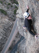 Rock Climbing Photo: The exposed slab moves above the crux of the final...