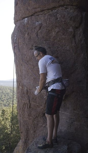 Rock Climbing Photo: Darren getting ready to start Mustache Mayhem
