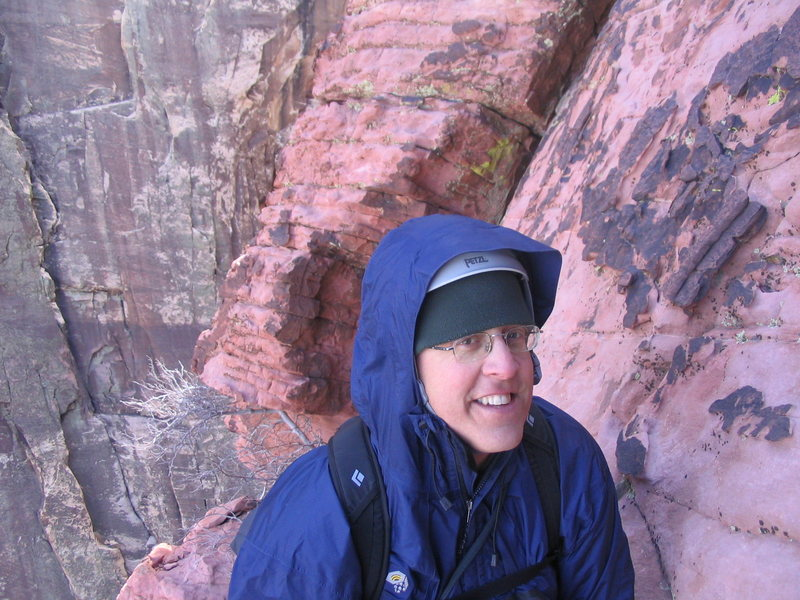 Rock Climbing Photo: Trying to stay warm up on Brownstone Wall Red Rock...