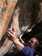 """Rock Climbing Photo: Jim Hausmann reading for the crux move of """"Ex..."""