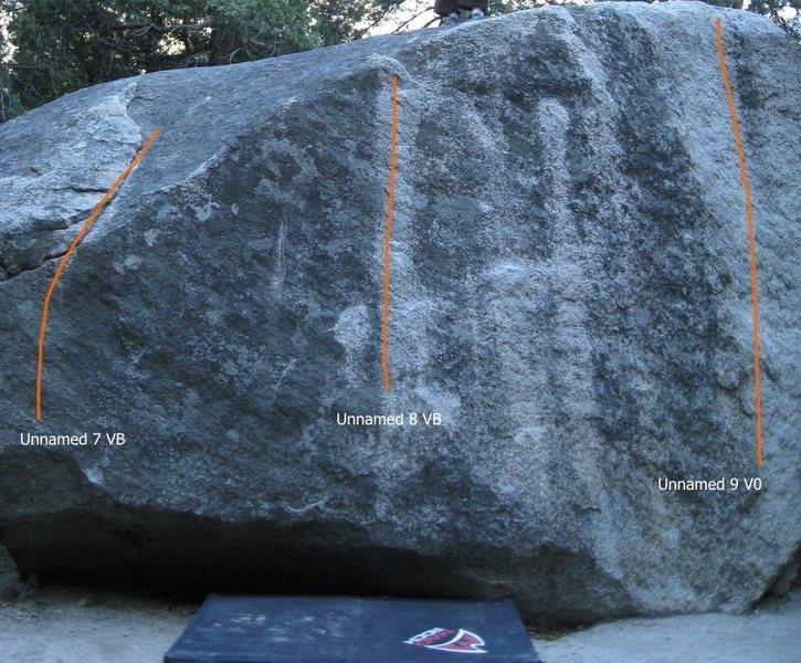 Rock Climbing Photo: Birdwell boulder. North side topo