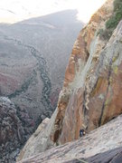 Rock Climbing Photo: Gomoll following p20 (by the book, p12 for us). Th...