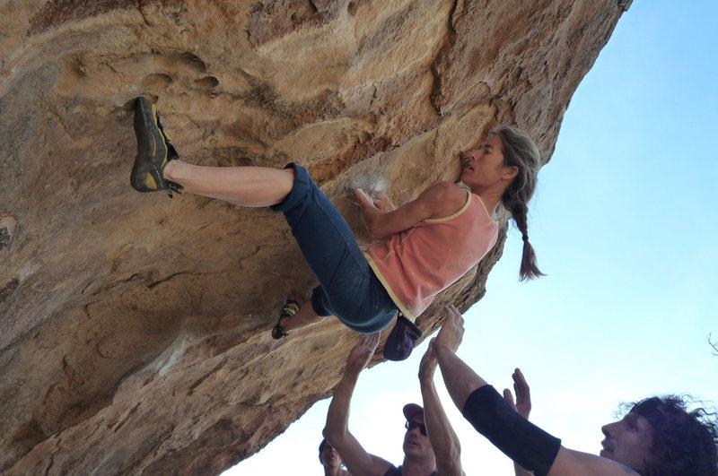 Rock Climbing Photo: Lynn Hill on something at Hueco tanks me spotting!