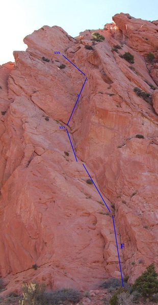 Climb the open book to the right of kingpin.  The first pitch lie backs the slabby dihedral to a 2 bolt anchor. Second pitch is steeper with the crux near the end of the route.  Anchors for second pitch are far left.<br> 2 pitches (120')<br> F.A. Unknown<br>