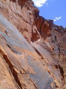 Rock Climbing Photo: Ice Cream Parlor slab with Kane Creek Canyon in th...