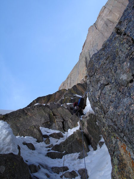 Ty Cook a bit further up the first pitch of the North Chimney.  Photo by Chris Sheridan 5-18-09.