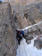 Rock Climbing Photo: Ty Cook working out a steep step on the second pit...