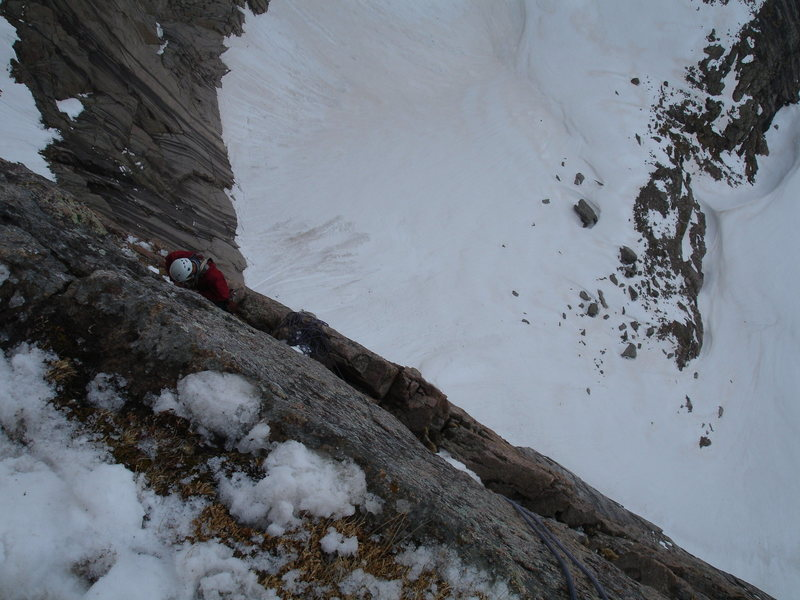 Looking down from Table Ledge after an early season ascent of D7.  Photo by Ty Cook 5-19-09.