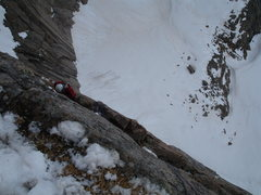 Rock Climbing Photo: Looking down from Table Ledge after an early seaso...