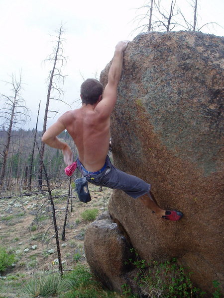 Rock Climbing Photo: Bjorn making progress and getting ready to top out...
