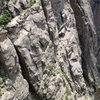 """Climbers on Casually Off Route, May 20, 2009.  Climbers are at the """"S"""" crack belay.<br>"""