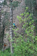 Rock Climbing Photo: Ken McRaney nearing 3rd bolt
