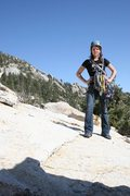 Rock Climbing Photo: Racking out at the top of Coffin Nail, she asks, &...