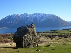 Rock Climbing Photo: microchip boulder, lake wakatipu behind...one of f...