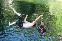 Rock Climbing Photo: ben rescuing chewee...Hang Dog's Dog, she had litt...