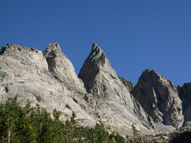 Shark's Nose from above Shadow Lake. Overhanging Tower to the left.