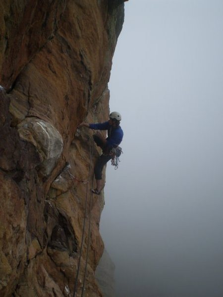 Rock Climbing Photo: Miller starting out the crux pitch.