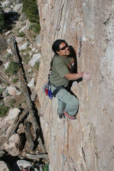 Rock Climbing Photo: Albert Ramirez headed for bolt #4.