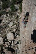 Rock Climbing Photo: Albert Ramirez clipping bolt #4 with Agina far bel...
