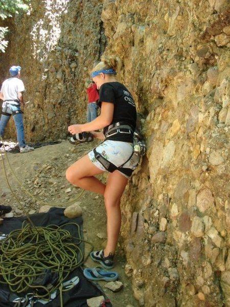 Rock Climbing Photo: puttin on the shoes