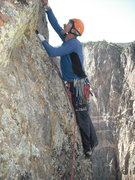 Rock Climbing Photo: Slotting the Czech nut on pitch 9.