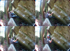 The first few moves on the warm up traverse.