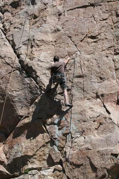 Rock Climbing Photo: Nathan leading Golden Poodle 5.9    2 of 2