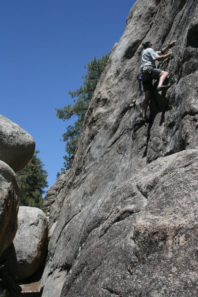 Me following Nathan on a great lead of La Paws 5.10a a trad crack lead on Lost Orbit Rock.  1 of 2